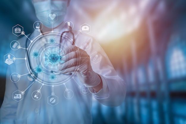 Врач со стетоскопом анализ лечения коронавирусной технологии концепции