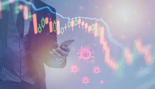 コロナウイルスは世界経済の株式市場の金融危機の概念に影響を与える