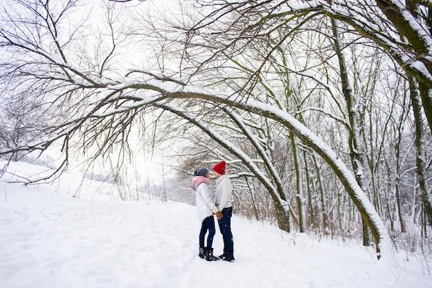 ロマンチックなカップルは冬の屋外でキスに行く