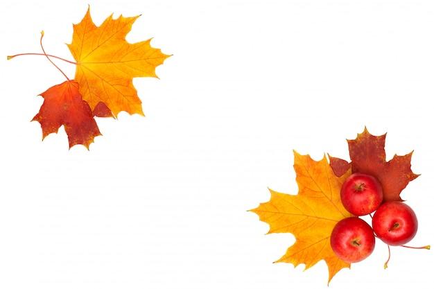 Красивая осенняя рамка - кленовый лист и красное яблоко на белом