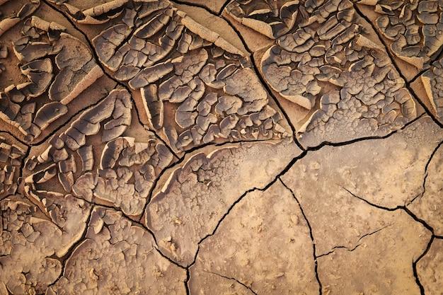 ひび割れた大地土壌の乾燥した地面のテクスチャ。