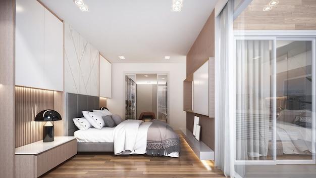 寝室のモダンで豪華なインテリアデザイン