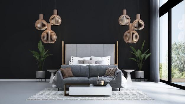 モダンなトロピカルベッドルームのインテリアデザインと黒のテクスチャ壁の背景