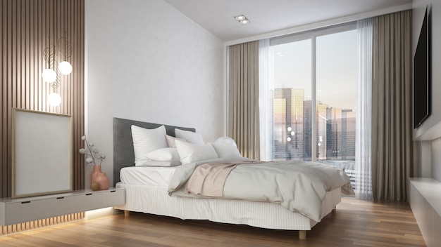 モダンなミニマルな白い寝室のインテリアデザイン