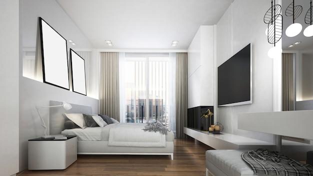 モダンな白い寝室のインテリアデザイン