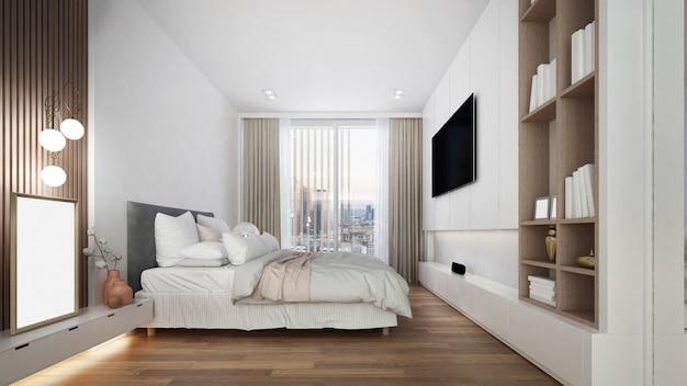 白い寝室のインテリアデザイン