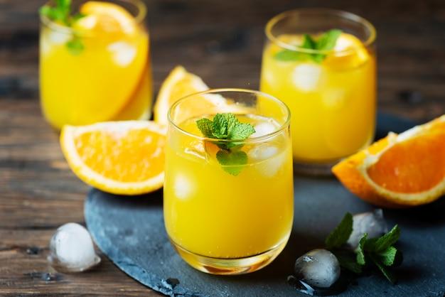 Свежий летний коктейль с апельсином и мятой