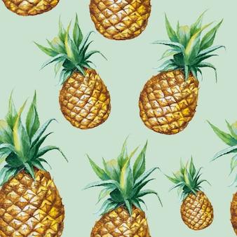 Бесшовные акварель ананас