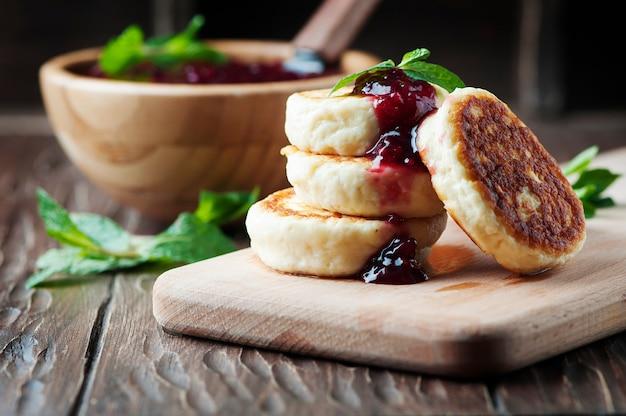 ラズベリーとカッテージチーズのパンケーキ