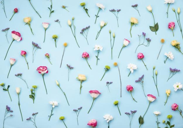 青いテーブルに散らばって新鮮なカラフルな花