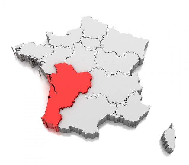 Карта региона нувель-аквитания, франция