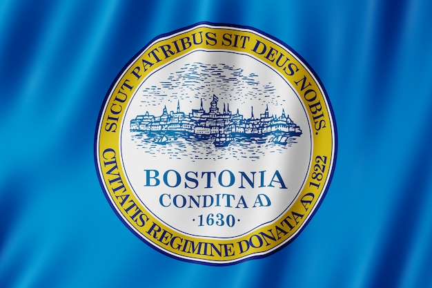 Флаг города бостон, штат массачусетс (сша)