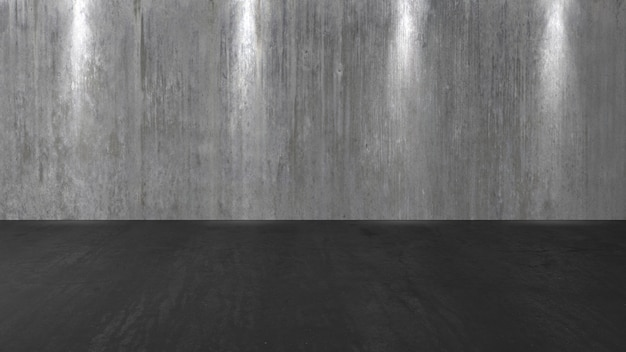 コンクリートの壁の背景、汚れた古い黒い床