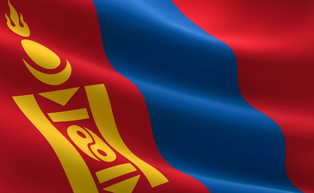 モンゴルの国旗。モンゴル国旗の波打つイラストレーション。