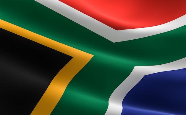 南アフリカの国旗。南アフリカの旗を振る図