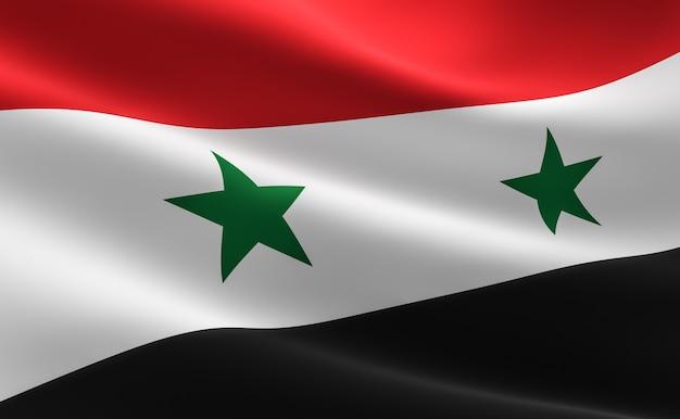 Флаг сирии. иллюстрация сирийского флага размахивая.