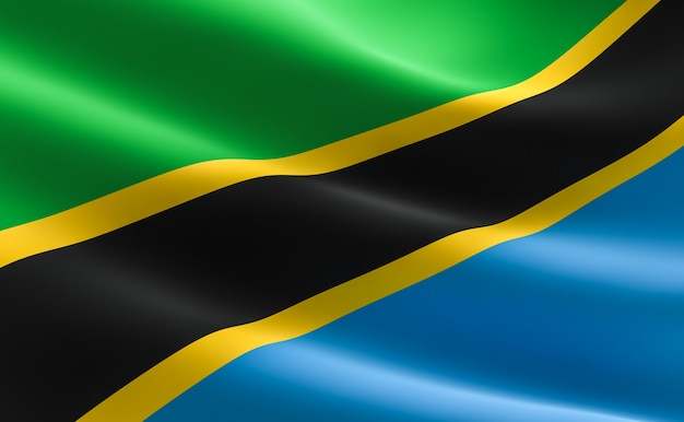 タンザニアの国旗。タンザニアの旗の波打つイラストレーション。