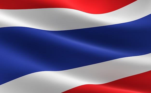 タイの国旗。波打つタイの旗のイラストレーション。