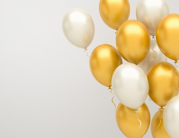 金と銀の風船の背景
