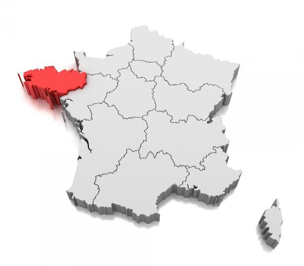 ブルターニュ地方、フランスの地図