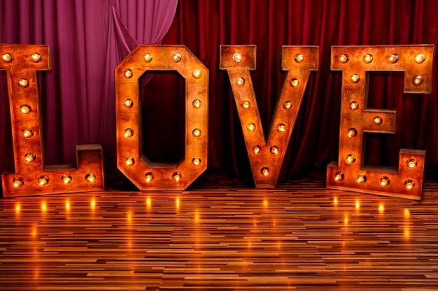 愛という言葉で木の看板