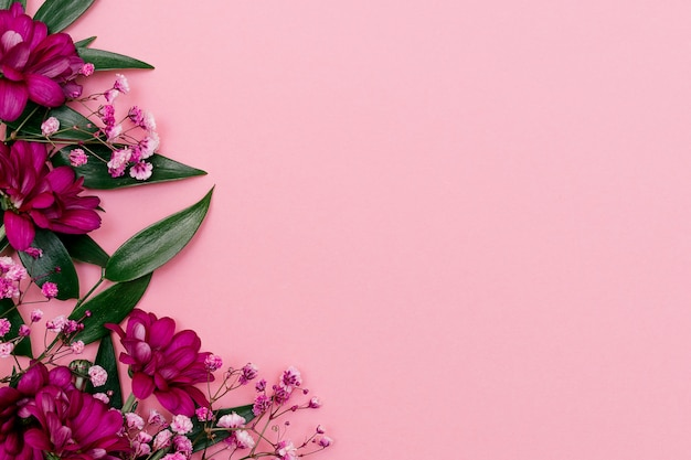Листья рускуса, хризантемы и гипсофила. праздничная концепция фон