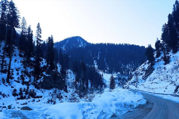 谷で雪が降る