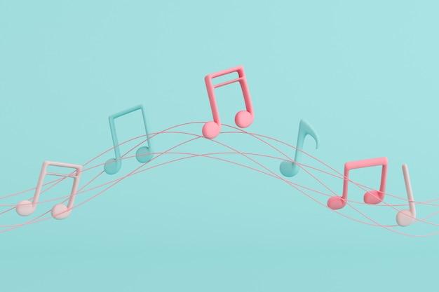 Минимальная иллюстрация музыкальной ноты, плавающей на строках