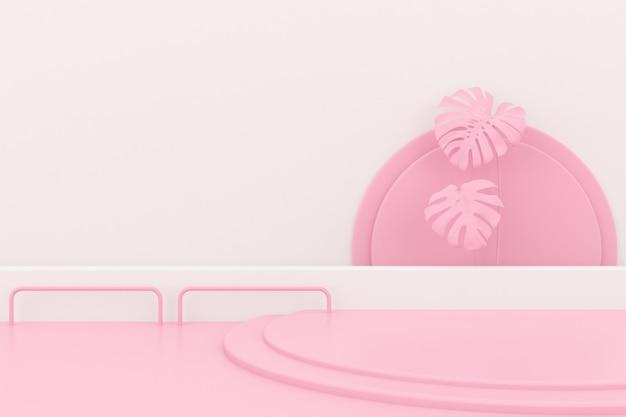 製品のプレゼンテーションのための抽象的な幾何学的なピンクの表彰台。
