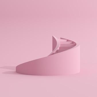 ピンクの螺旋階段の最小限のシーン。