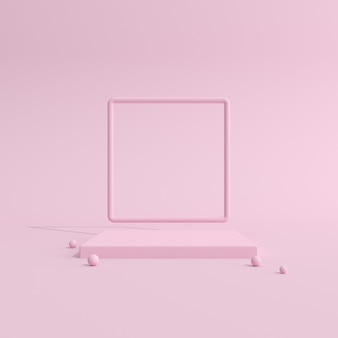 製品のプレゼンテーションのための幾何学的なピンクの表彰台。