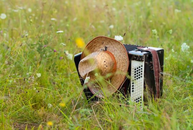Аккордеон с шляпой крупным планом на природе