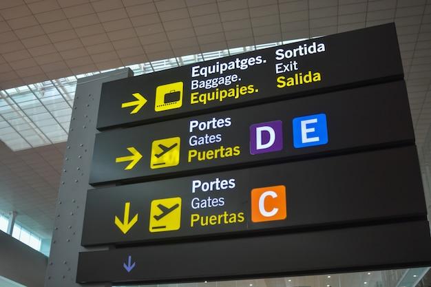 国際空港の搭乗ゲートのパネル。