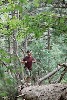 山の森を旅する男