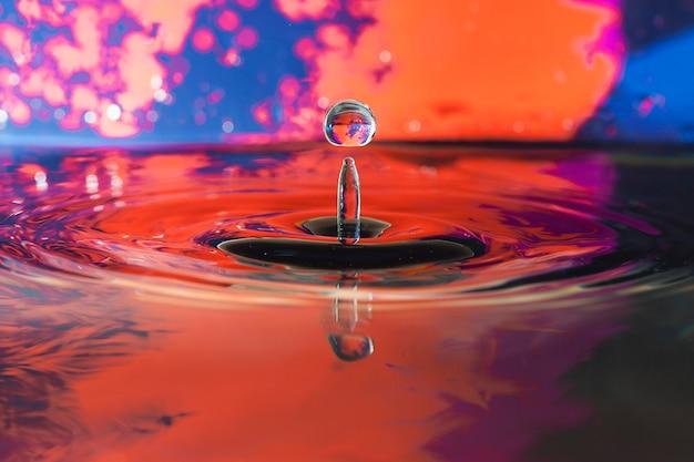 水面と滴のある色付きの背景