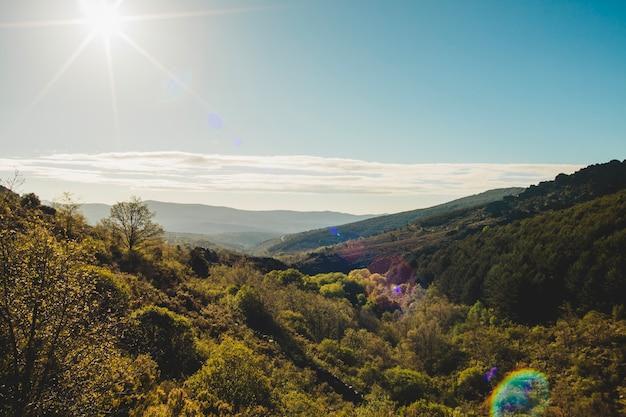 Вид на горизонт в холмистой местности
