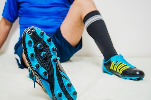 サッカー選手、弛緩、靴、眺め