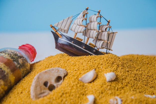 Концепция пляжа и парусного судна