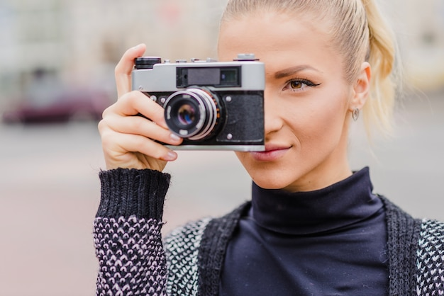 カメラ、通り、女