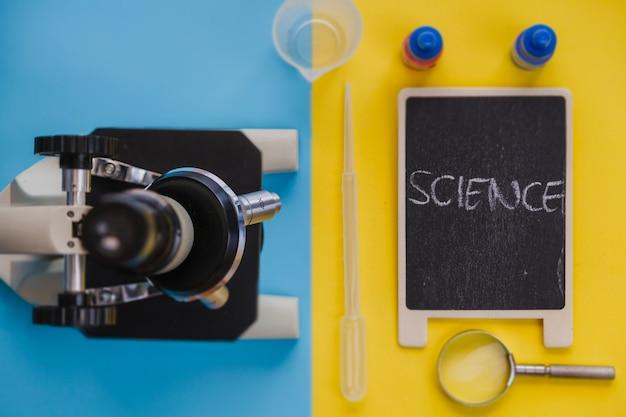 顕微鏡と実験用具