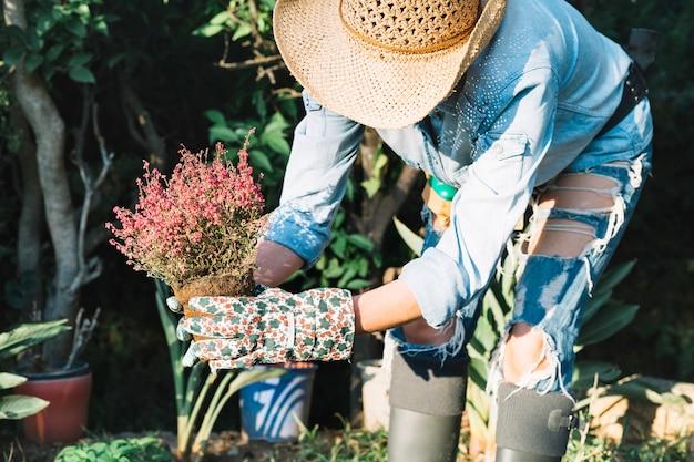 庭に鉢植えの花を握っている認識できない女性