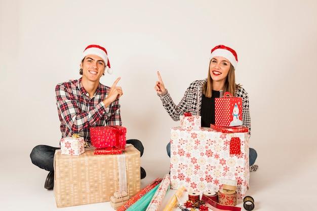 カップルと贈り物の概念