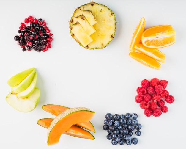 Плоды и ягоды, лежащие в кругу
