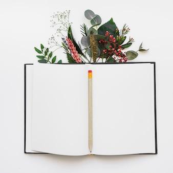 鉛筆と葉のある本