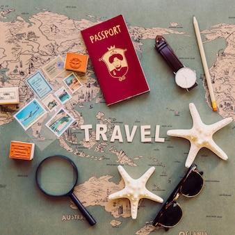 マップ上の旅行用品の構成