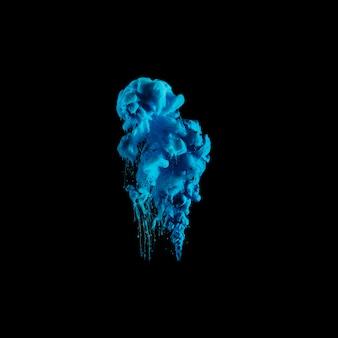 暗い水で鮮やかな青色のインク滴
