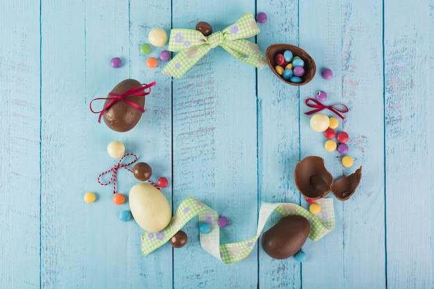 お菓子とリボンからの花輪
