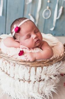 愛らしい小さな赤ちゃんがバスケットで寝ている
