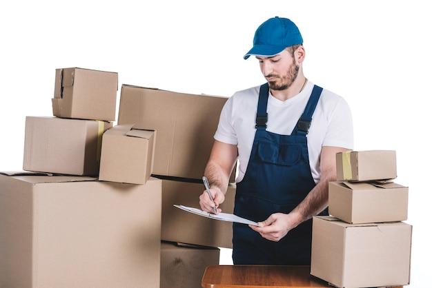 小包のための宅配業者の署名