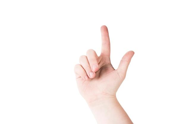手を指さして